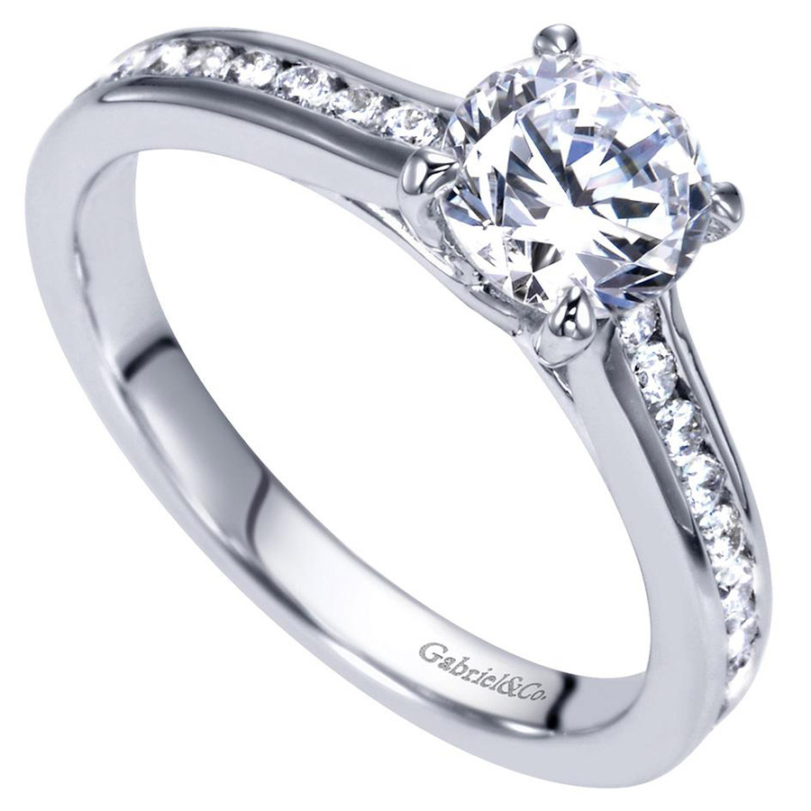 Gabriel 14 Karat Contemporary Engagement Ring ER98718W44JJ Alternative View 2
