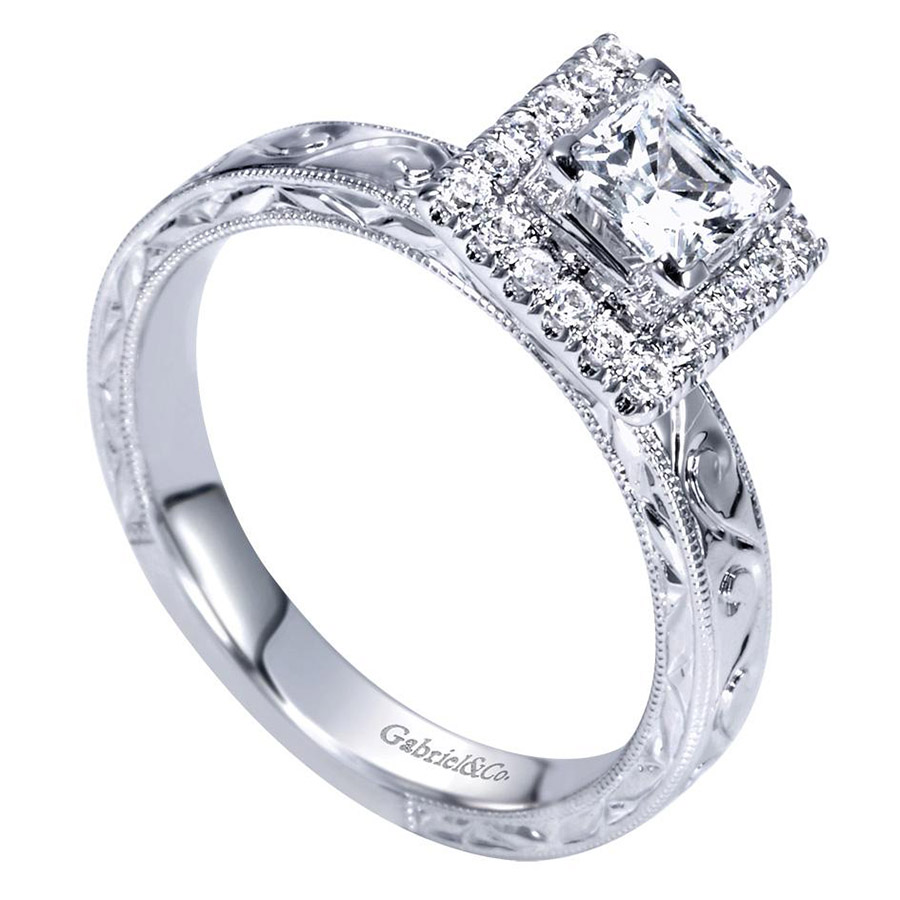 Gabriel 14 Karat Victorian Engagement Ring ER99011W44JJ Alternative View 2