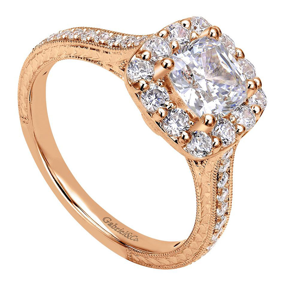 Gabriel 14 Karat Victorian Engagement Ring ER7500K44JJ Alternative View 2