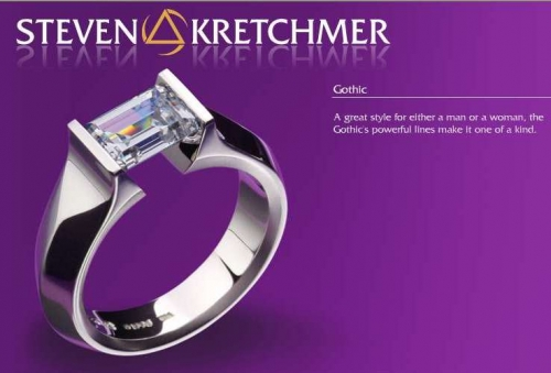 Kretchmer 18 Karat Gothic Tension Set Ring Alternative View 2