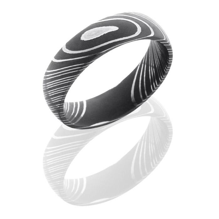 lashbrook d6d acid damascus steel wedding ring or band tq diamonds