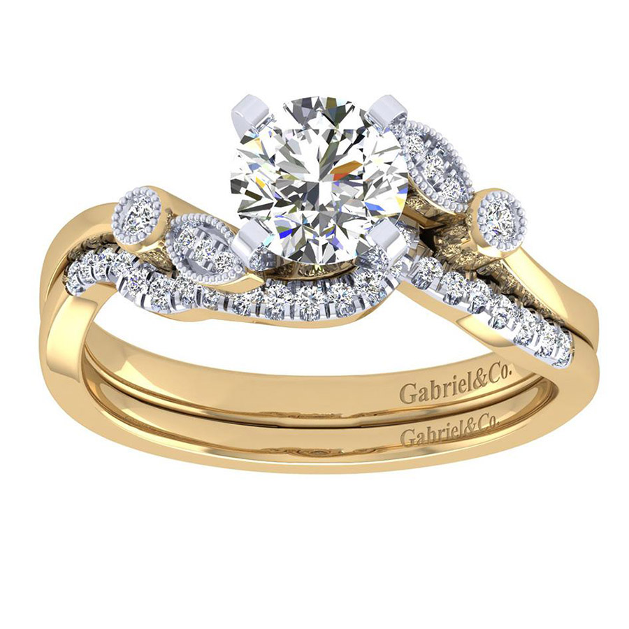 Gabriel 14 Karat Victorian Engagement Ring ER8131M44JJ Alternative View 3