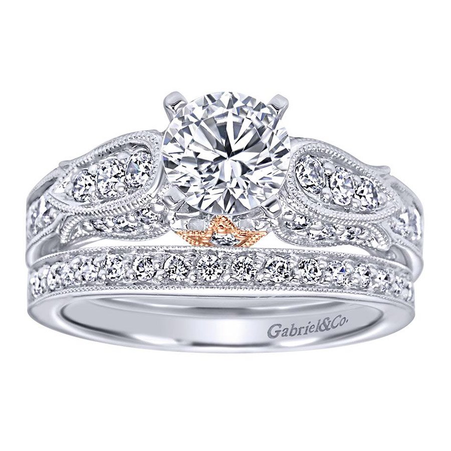 Gabriel 14 Karat Victorian Engagement Ring ER4072T44JJ Alternative View 3