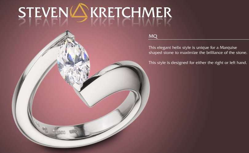 Kretchmer Platinum Marquise Helix Tension Set Ring Alternative View 1