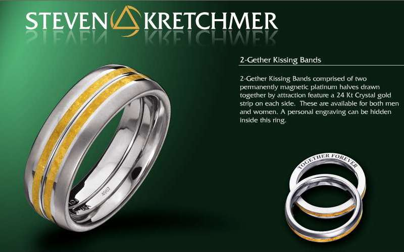 Kretchmer Polarium/24K Gold 2-Gether Kissing Bands Alternative View 2