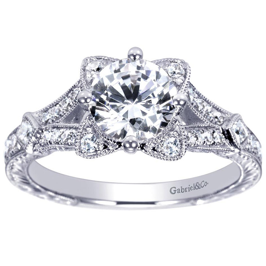 Gabriel 14 Karat Victorian Engagement Ring Er8790w44jj Alternative View  4