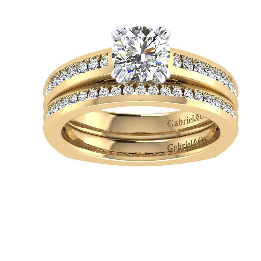 Gabriel 14 Karat Contemporary Engagement Ring ER6655M44JJ Alternative View 3