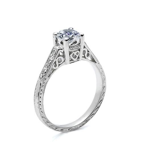 Tacori Platinum Hand Engraved Engagement Ring HT2202 Alternative View 1