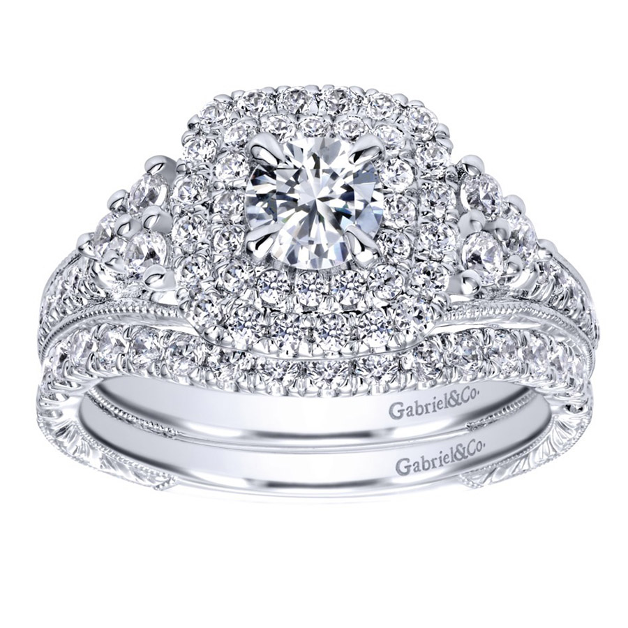 Gabriel 14 Karat Contemporary Engagement Ring ER910086W44JJ Alternative View 3