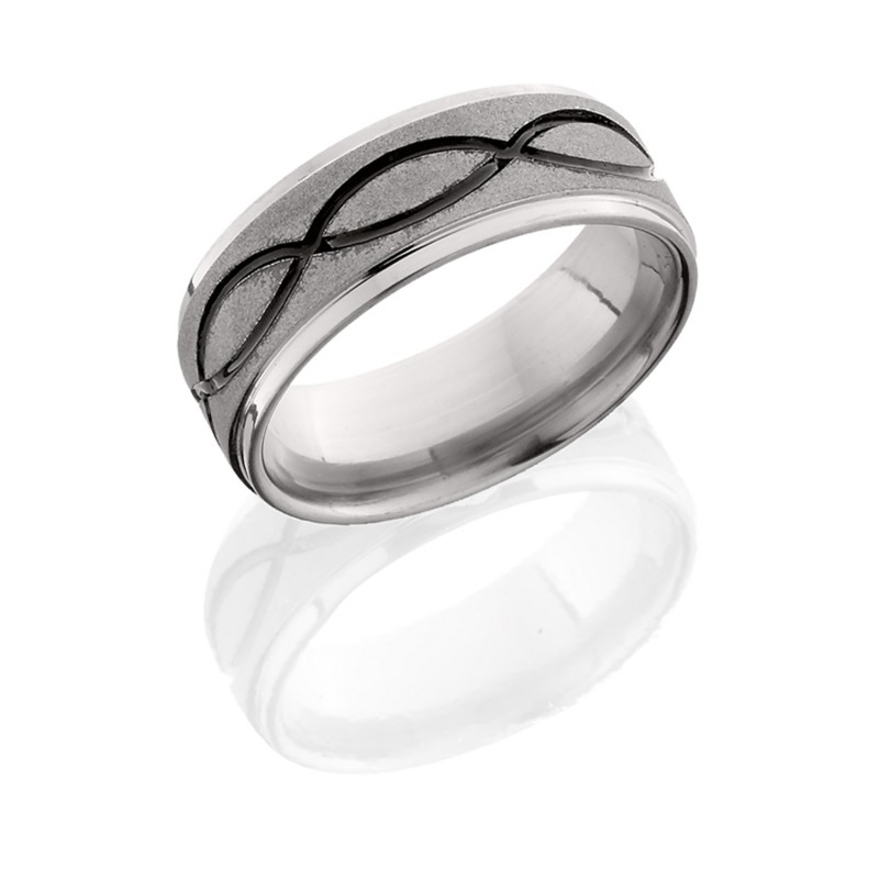 Lashbrook 8FGEINFA SANDBLAST-POLISH Titanium Wedding Ring or Band