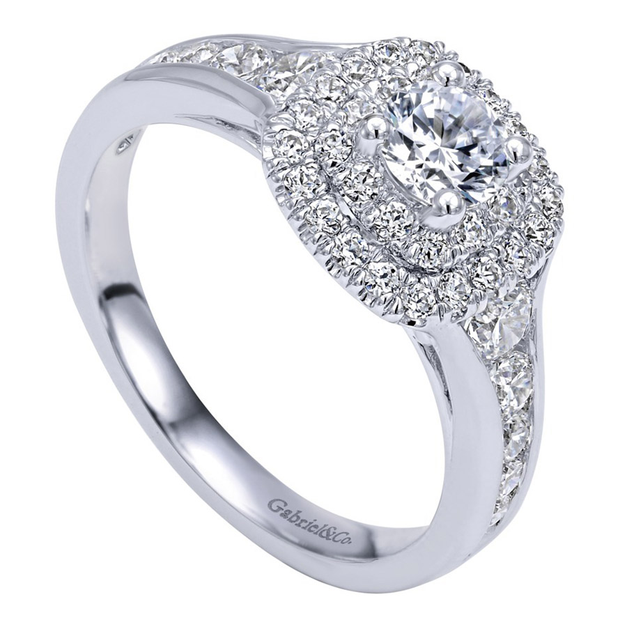 Gabriel 14 Karat Contemporary Engagement Ring ER910162W44JJ Alternative View 2