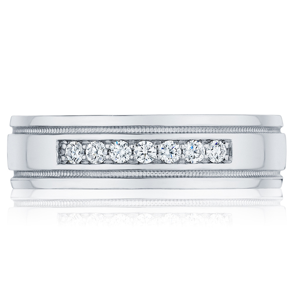 110-6D Platinum Tacori Sculpted Crescent Diamond Wedding Ring