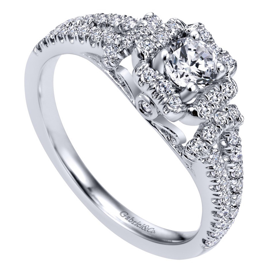 Gabriel 14 Karat Contemporary Engagement Ring ER910161W44JJ Alternative View 2