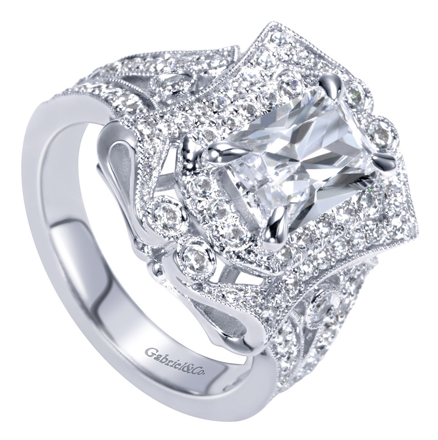 Gabriel 14 Karat Victorian Engagement Ring ER8940W83JJ Alternative View 2