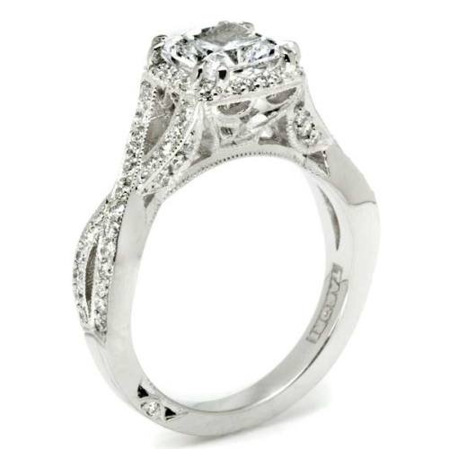 Tacori Dantela Platinum Engagement Ring 2627PRLG Alternative View 3