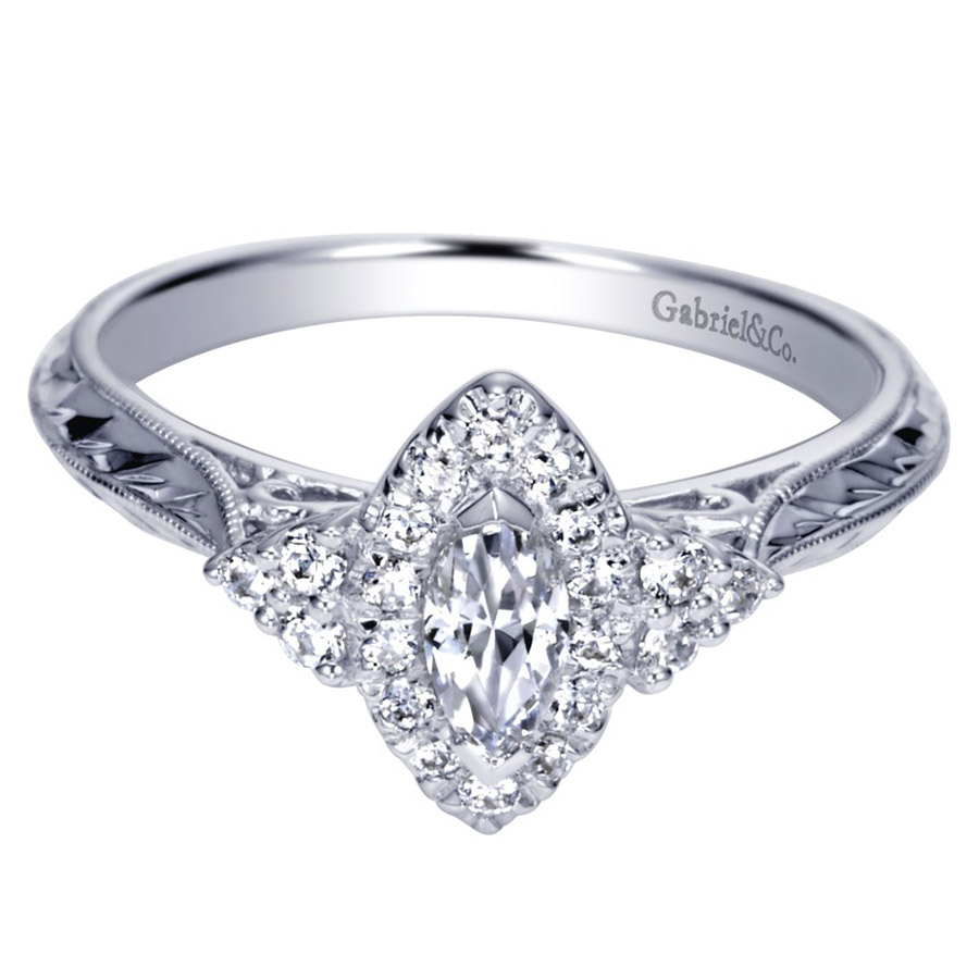 Gabriel 14 Karat Contemporary Engagement Ring ER98485W44JJ