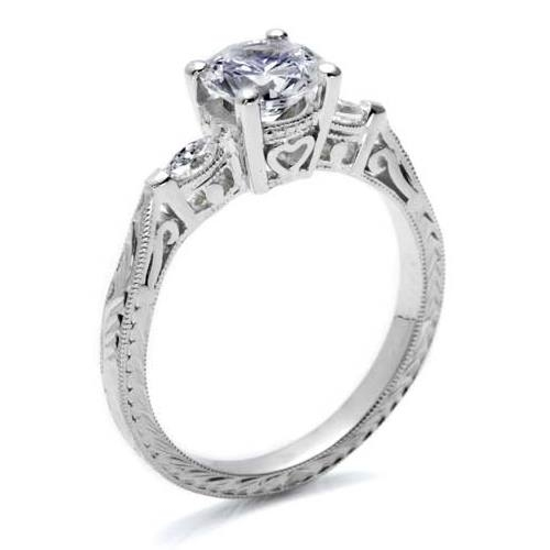 Tacori Platinum Hand Engraved Engagement Ring HT2198 Alternative View 1