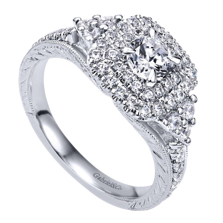 Gabriel 14 Karat Contemporary Engagement Ring ER910086W44JJ Alternative View 2