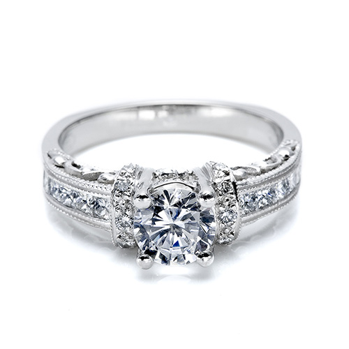 Tacori 18 Karat Hand Engraved Engagement Ring HT2196