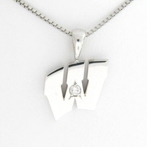 "UW Motion ""W"" 14 Kt White Gold Pendant - Medium with Diamond"