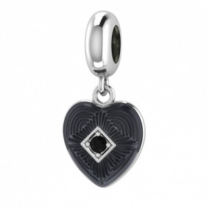 JLo Collection Endless Jewelry Black Big Heart Sterling Silver Charm 3350-1