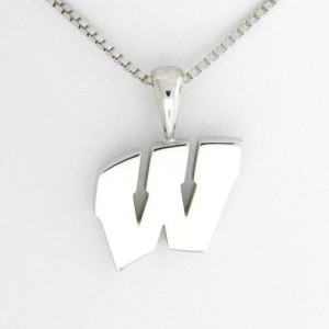 "University of Wisconsin Motion ""W"" 14 Kt White Gold Pendant Med"