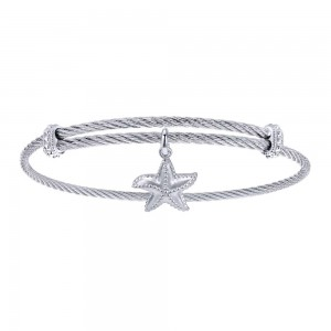 Gabriel Fashion Silver Two-Tone Soho Bangle Bracelet BG3587MXJJJ