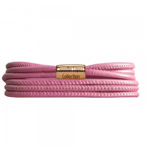 JLo Collection Endless Jewelry Pink Metallic 3-String Leather Bracelet 18k Gold Plated 1093-36
