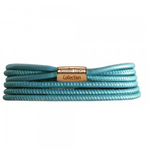 JLo Collection Endless Jewelry Teal Metallic 3-String Leather Bracelet 18k Gold Plated 1092-36