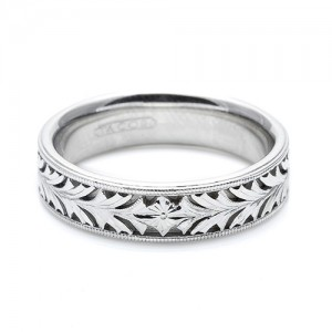 Tacori Platinum Hand Engraved Wedding Band HT2384