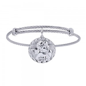 Gabriel Fashion Silver Two-Tone Soho Bangle Bracelet BG3574MXJJJ