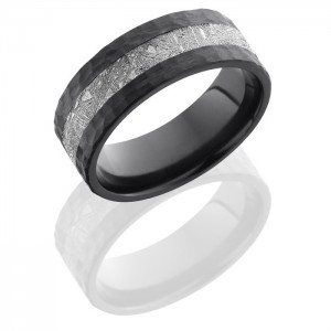 Lashbrook Z8F13-Meteorite Hammer Zirconium Meteorite Wedding Ring or Band