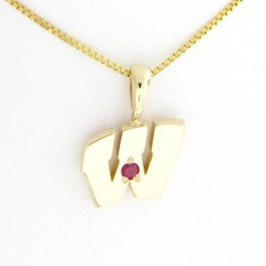 """UW Motion """"W"""" 14 Kt Yellow Gold Pendant - Small with Ruby"""