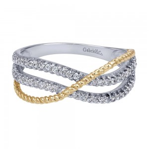 Gabriel Fashion 14 Karat Two-Tone Braided Ladies' Ring LR5440M45JJ