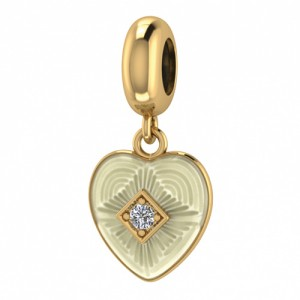 JLo Collection Endless Jewelry White Big Heart 18k Gold Plated Charm 3875-2