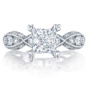 2644PR6512 Platinum Tacori Classic Crescent Engagement Ring