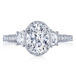 2663OV85X65 Platinum Tacori Dantela Engagement Ring