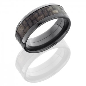 Lashbrook ZC8B15-CF Polish Zirconium Carbon Fiber Wedding Ring or Band