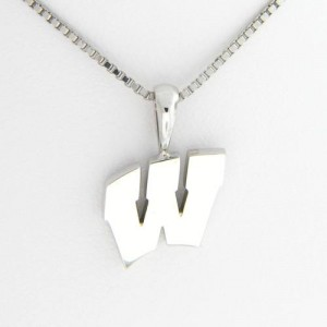 "University of Wisconsin Motion ""W"" 14 Kt White Gold Pendant Sm"