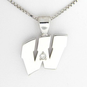 "UW Motion ""W"" 14 Kt White Gold Pendant - Large with Diamond"