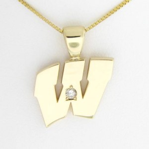 "UW Motion ""W"" 14 Kt Yellow Gold Pendant - Large with Diamond"