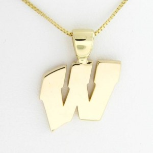 "University of Wisconsin Motion ""W"" 14 Kt Yellow Gold Pendant Lg"