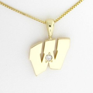 "UW Motion ""W"" 14 Kt Yellow Gold Pendant - Medium with Diamond"