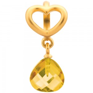 Endless Jewelry Citrine Heart Grip Drop Gold Plated Charm 53302-3
