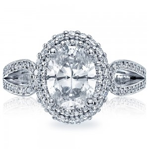 HT2518OV9X7 Platinum Tacori Blooming Beauties Engagement Ring