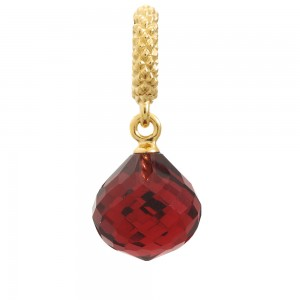 JLo Collection Endless Jewelry Mysterious Drop Gold Plated Ruby Crystal Charm 1801-3