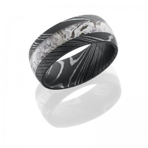 Lashbrook D9D14/KINGSSNOW ACID Damascus Steel Wedding Ring or Band