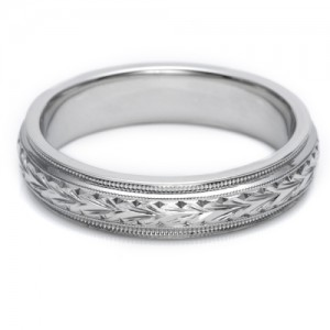 Tacori Platinum Hand Engraved Wedding Band GU86E