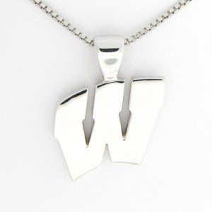 "University of Wisconsin Motion ""W"" 14 Kt White Gold Pendant Lg"
