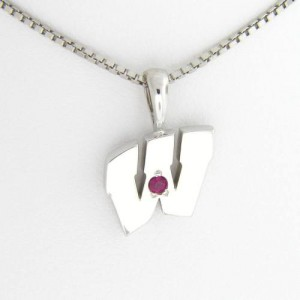 """UW Motion """"W"""" 14 Kt White Gold Pendant - Small with Ruby"""